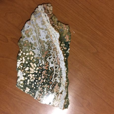 Orbicular Ocean Jasper Polished Two Sides Slice, Madagascar, Green, Pink, White