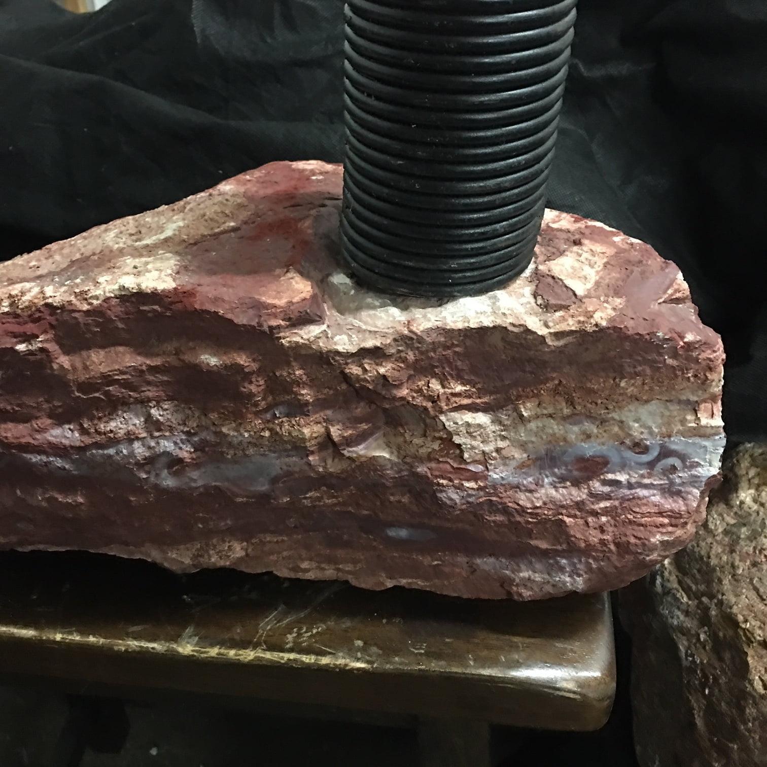 #CMB1 Red Mexican Jasper Sculpture + Industrial Spring + Orange Brown Jasper Rock