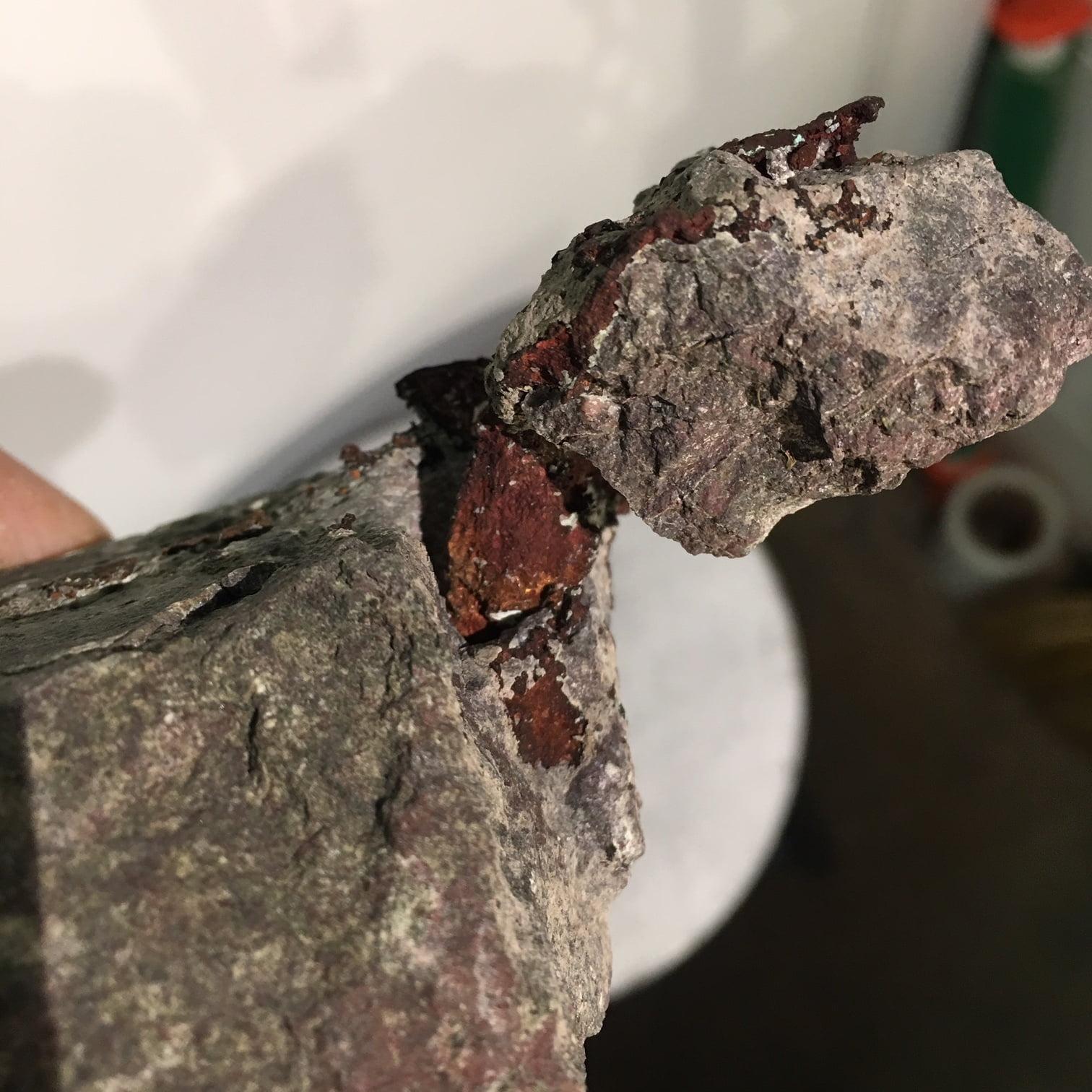 #C2 Copper Crystal Spearing Thru Two Pieces of Matrix, Michigan Upper Peninsula