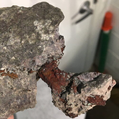 #C2 Copper Crystal Spearing Thru Two Pieces of Matrix, Michigan Upper Peninsula