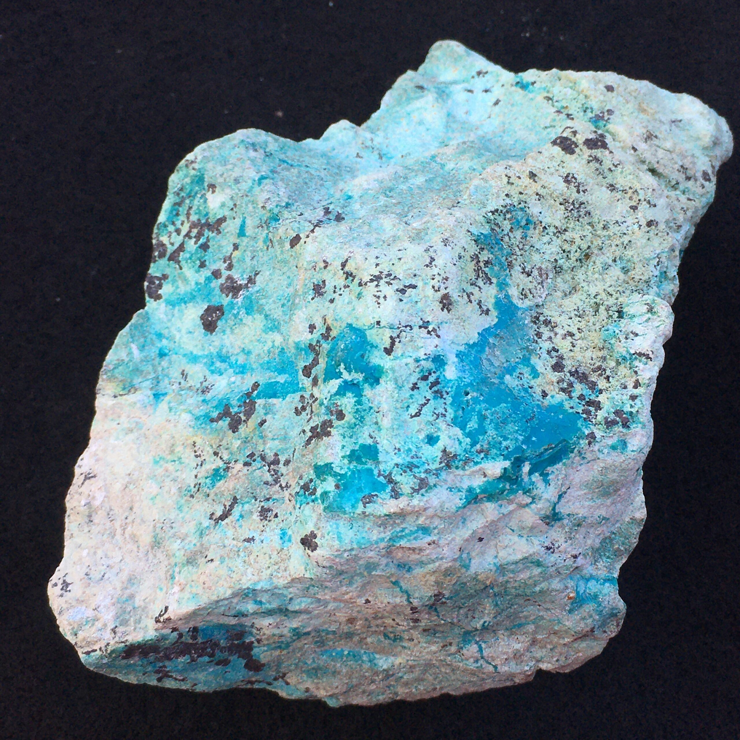 #TC4 Deep Blue Turquoise with Light Green Chrysocolla Stone  for Display, Lapidary