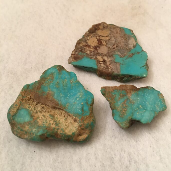 #TC10  Green Blue Turquoise on Matrix - 3 Pieces in this Lot