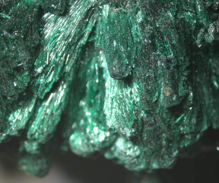 Malachite Under a Stereoscopic Microscope
