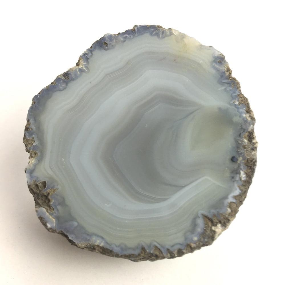 Agate Mineral Nodule Blue White Grey GEODE29-#GEOD29-1