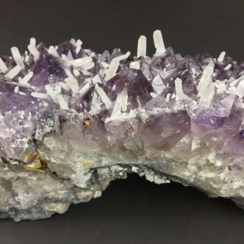 Amethyst Crystals Cluster with many Smaller White Quartz Crystals Growing on the Amethyst AM17-#AM17-2