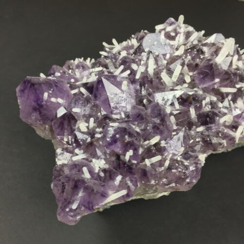 Amethyst Crystals Cluster with many Smaller White Quartz Crystals Growing on the Amethyst AM17-#AM17-4