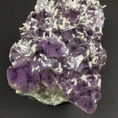 Amethyst Crystals Cluster with many Smaller White Quartz Crystals Growing on the Amethyst AM17-#AM17-5