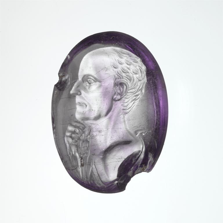Amethyst intaglio portrait of Julius Caesar, Roman, 50-40 B.C.E.