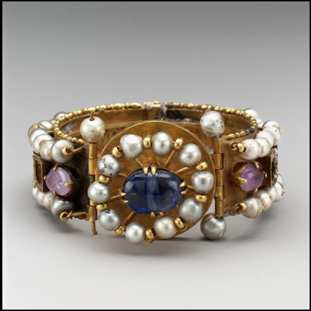 Byzantine Jeweled Bracelet of gold, silver, pearls, amethyst, sapphire, glass, quartz