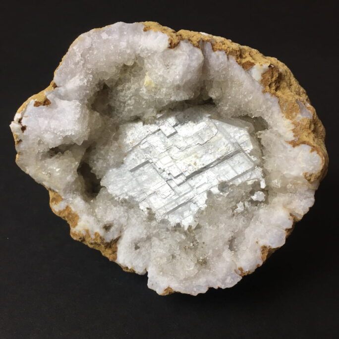 Indiana Geode Filled with Calcite Cubes on Quartz-#GEOD26-1