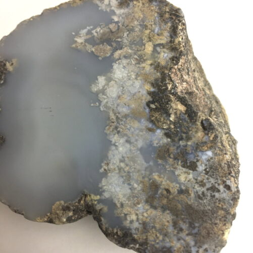 Light Blue and Gray Agate Nodule Showing Mineral Moss GEODE24-#GEODE24-2