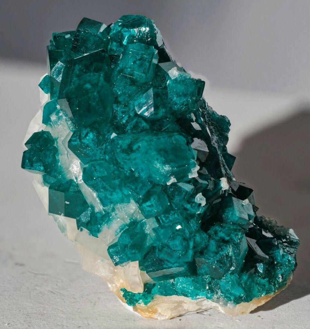 Dioptase with Calcite Tsumeb Mine Otjikoto Region Namibia-#DIO2-2