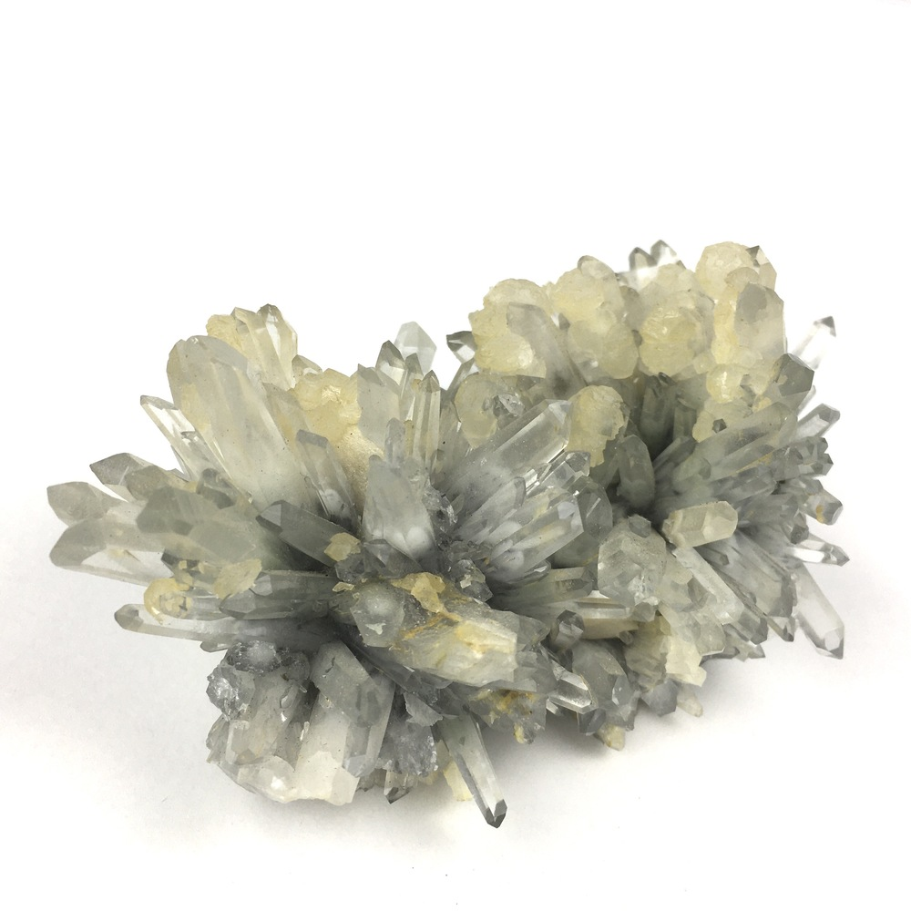 Natural Spikey Quartz Cluster with Calcite Drops on Some Crystals-#QP6-3