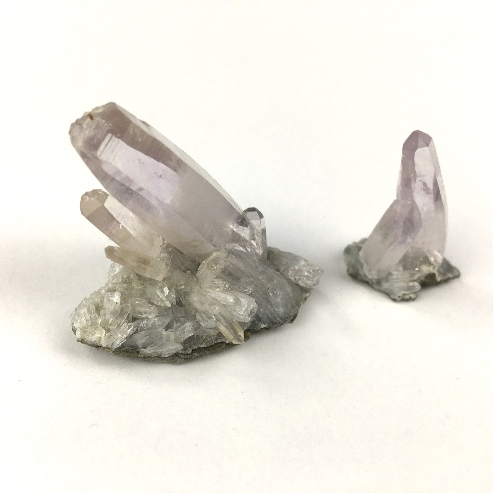 Two Beautiful Separate Natural Delicate Small Light Amethyst Quartz Clusters-#QP7-2