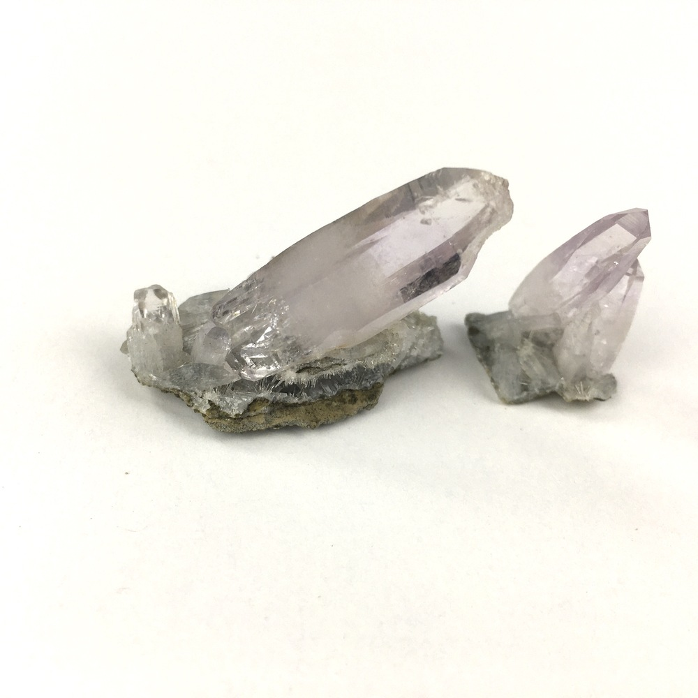Two Beautiful Separate Natural Delicate Small Light Amethyst Quartz Clusters-#QP7-3