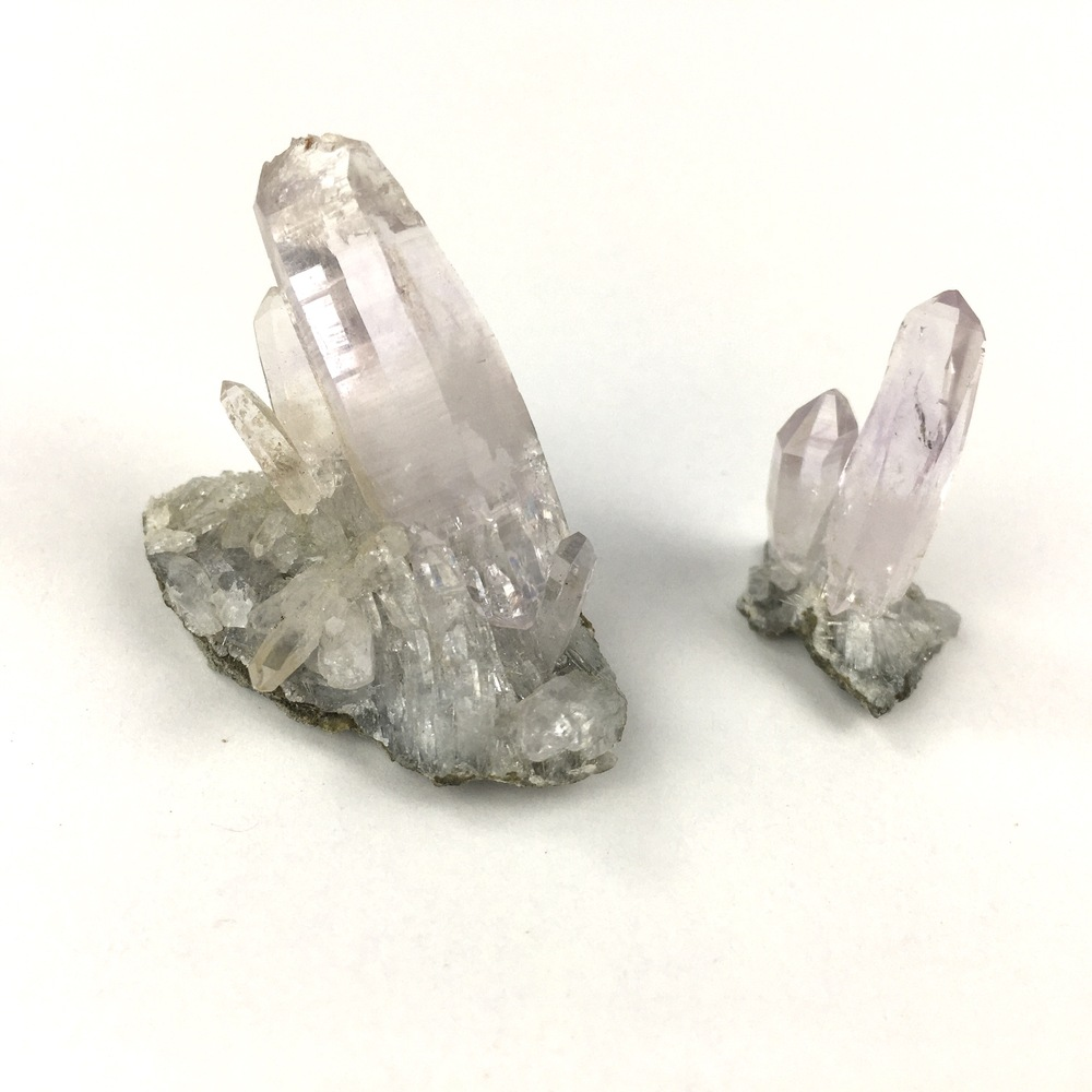 Two Beautiful Separate Natural Delicate Small Light Amethyst Quartz Clusters-#QP7-4