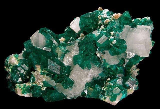 Dioptase with calcite and minrecordite - Tsumeb Mine (Tsumcorp Mine), Tsumeb, Otjikoto (Oshikoto) Region, Namibia (5.5x4cm)